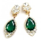 Tears Clips-on Earrings ~ Crystal Emerald