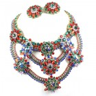 Paramount Bib Necklace Set ~ Red Green Blue