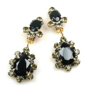 Heritage of History Earrings Clips ~ Black