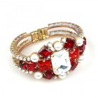 Marquis Clamper Bracelet ~ Ruby Red Clear Crystal with Beads