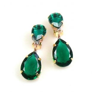 Raindrops Earrings Clips ~ Emerald