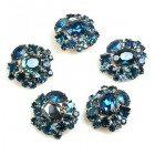 Lot of 5 pc. Rhinestone Buttons ~ #12