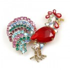 Rooster Brooch ~ Red