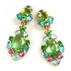 Déjà vu Pierced Earrings ~ Green Multicolor