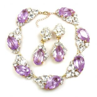 Fountain Necklace Set ~ Clear Crystal with Silver Violet