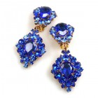 Aztec Sun Earrings Clips ~ Blue