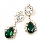 Fountain Earrings for Pierced Ears ~ Clear with Emerald