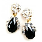 Fountain Clips-on Earrings ~ Clear Crystal Black