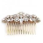 Zephyr Hair Comb ~ Flowers ~ Clear Crystal