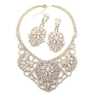 Aisha Necklace Set with Earrings Clear Crystal