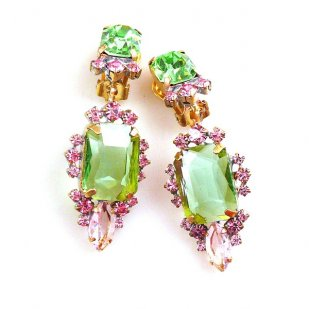 Allisa Earrings Clips ~ Green with Pink