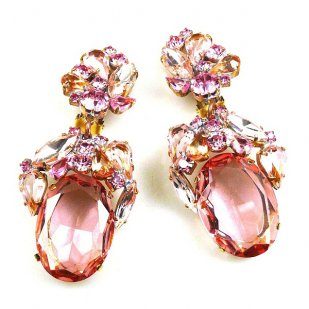 Fiore Clips Earrings ~ Pink and Clear Crystal