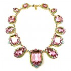 Candy Puffs Necklace ~ Pink Multicolor ~ Antique Gold Plated