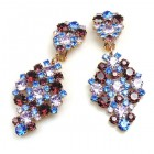 Enigma Earrings with Clips ~ Purple Blue
