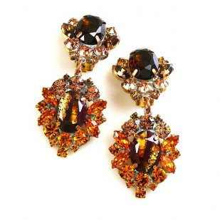 Aztec Sun Earrings Clips ~ Topaz Tones with Gold Topaz