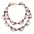 Timeless Chunky Bib Necklace ~ Clear Crystal with Violet