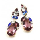 Fountain Earrings for Pierced Ears ~ Colors with Purple