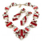Ffion Necklace Set ~ Ruby Red and Clear Crystal