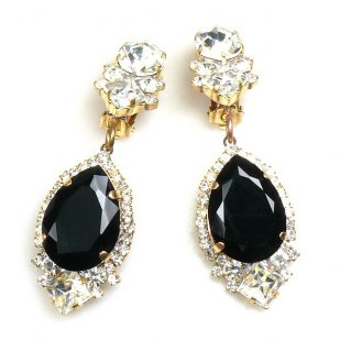 Tears Clips-on Earrings ~ Crystal Black
