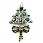Xmas Tree with Bow Pin ~ Clear Emerald