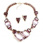 Dice Cube Necklace Set with Earrings ~ Violet