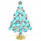 2020 Xmas Tree Stand-up Decoration 15cm ~ Aqua Clear Crystal