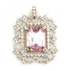 Octagonal Pendant ~ Crystal with Pink