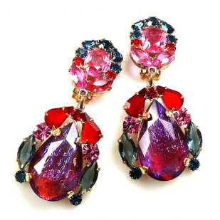 Iris Earrings Clips-on ~ Extra Violet Red Fuchsia