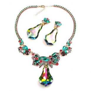 Vitrail Green Dangling Stones Necklace Set ~ Green Fuchsia