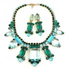 Lady Charm Necklace Set with Earrings ~ Aqua Emerald