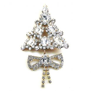 Xmas Tree with Bow Pin ~ Clear Crystal