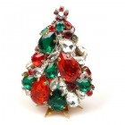 3 Dimensional Medium Xmas Tree Decoration ~ Gren Red Clear