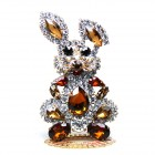 Bunny Stand Up Decoration Medium ~ Topaz Clear Crystal