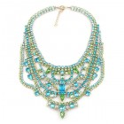 Crazy Meadow Necklace ~ Aqua with Green