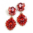Aztec Sun Earrings Pierced ~ Red