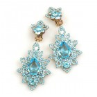 Emotion Lace Earrings Clips ~ Aqua
