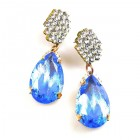 Drops Earrings #1 Pierced ~ Clear with Silver Sapphire