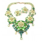 Crystal Blossom ~ Necklace Set ~ Green Yellow