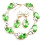 Fountain Necklace Set ~ Clear Crystal with Silver Green Peridot