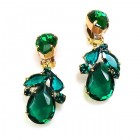 Anna Marie Earrings Clips ~ Emerald