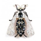 Queen Bee Brooch ~ Black and Clear Crystal