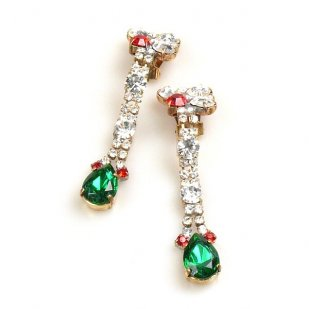 Venice Earrings with Clips ~ Clear Crystal with Emerald