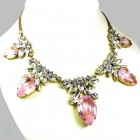Camilla Necklace ~ Clear Crystal with Silver Pink
