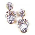 Fiore Pierced Earrings ~ Violet Ovals with Clear Crystal