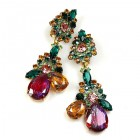 Parisienne Bloom Earrings Clips ~ Emerald Pleasure