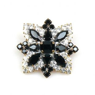 Star Rhinestone Button ~ Crystal Black