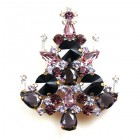 Rivoli Xmas Tree Brooch ~ Purple Violet
