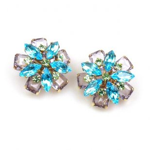 Crystal Blossom Earrings Clips ~ Aqua Amethyst