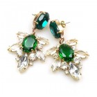 Xantypa Earrings Pierced ~ Clear Crystal with Emerald
