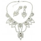 Bunch of Crystals ~ Necklace Set ~ Silver Plated